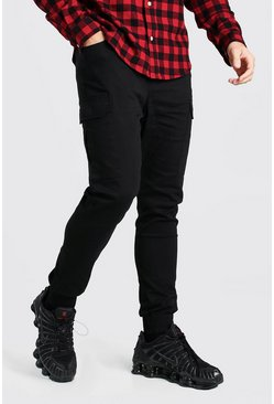 Black Cargo Trousers With Elasticated Waist
