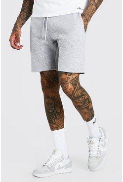 Grey MAN Signature Mid Length Jersey Shorts