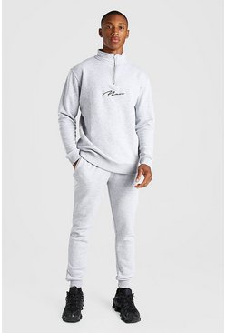 MAN Signature Half Zip Tracksuit, Grey marl