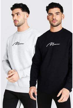 Multi 2 Pack MAN Signature Embroidered Sweatshirt