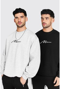 2 Pack Oversized MAN Signature Sweatshirt, Multi