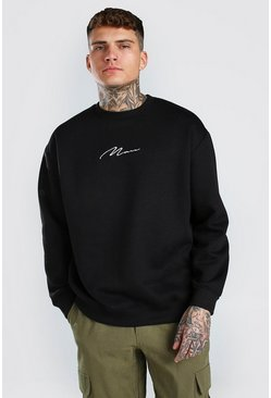 Black MAN Signature Embroidered Oversized Sweater