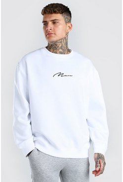 White MAN Signature Embroidered Oversized Sweater