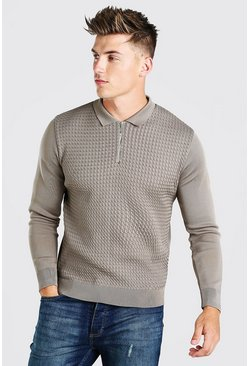 Taupe Textured Long Sleeve Half Zip Polo