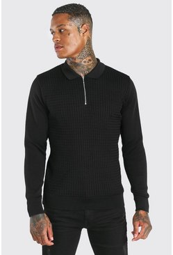 Black Textured Long Sleeve Half Zip Polo