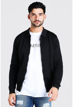 Black Smart Knitted Bomber With Collar