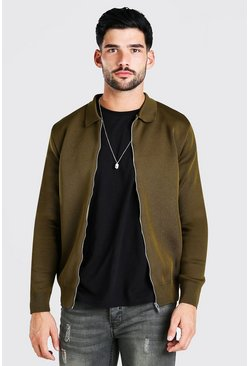 Khaki Smart Knitted Bomber With Collar