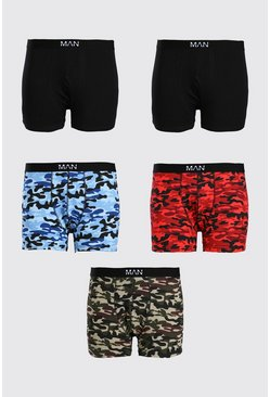 Multi Plus Size 5 Pack MAN Dash Mixed Camo Trunks