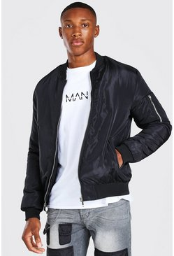 Black Padded Bomber With Zip Pocket Sleeve