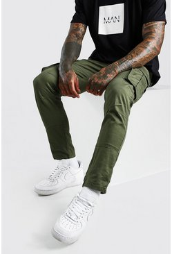 Green Skinny Fit Cargo Trousers