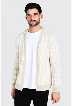 Nude Dogtooth Knitted Cardigan