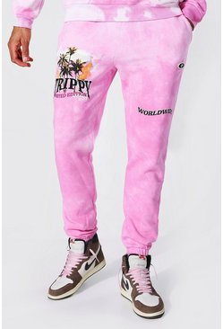 Pink Tall Regular Fit Trippy Skull Tie Dye Joggers