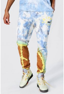 Blue Tall Regular Peace Graphic Tie Dye Joggers