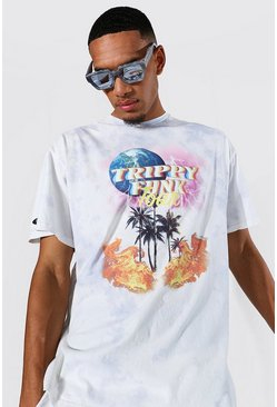 Tall Oversized Trippy Palm Graphic T-shirt, Grey
