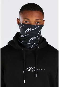 MAN Script All Over Jersey Snood, Black