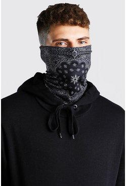 Bandana Print Jersey Snood, Black
