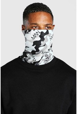 Man Dash Camo Print Jersey Snood, Grey