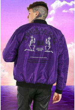 Purple Burna Boy MA1 Bomber Jacket With Back Print