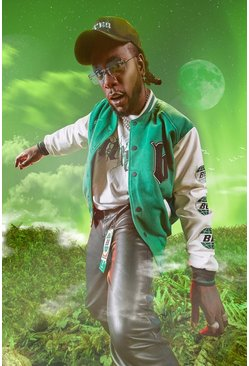 Green Burna Boy Varsity Bomber Jacket With PU Sleeves