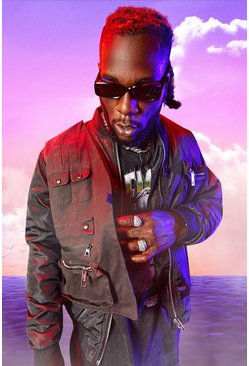 Black Burna Boy MA1 Bomber Jacket With Utility Vest