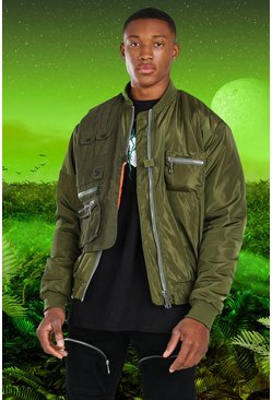 Khaki Burna Boy MA1 Bomber Jacket With Utility Vest