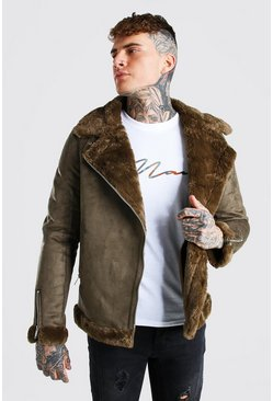 Green Faux Fur Lined Suede Aviator