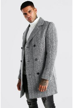Grey Wool Blend Harrington Double Breasted Overcoat