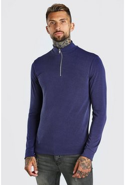 Half Zip Funnel Neck Jumper, Blue