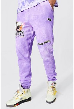 Purple Tall Regular Fit Trippy Skull Tie Dye Joggers