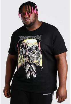 Black Plus Size Megadeth Skull License T-Shirt