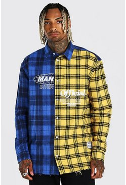Multi MAN Official Oversized Spliced Check Shirt