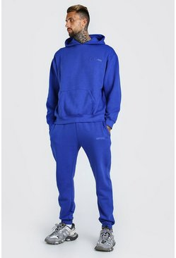 Oversized Official MAN Print Hooded Tracksuit, Cobalt