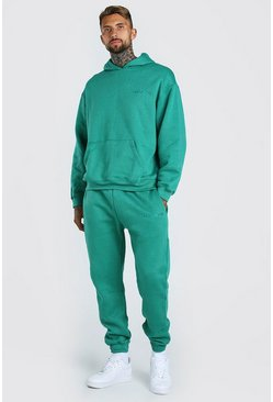 Oversized Official MAN Print Hooded Tracksuit, Green