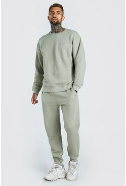 Oversized Official MAN Print Sweater Tracksuit, Sage