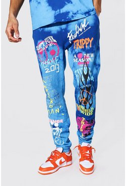 Blue Tall Regular Trippy Graffiti Tie Dye Jogger