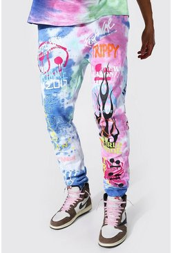 Multi Tall Regular Trippy Graffiti Tie Dye Joggers