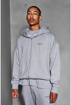 Grey marl Official Collection Heavyweight Zip Hoodie