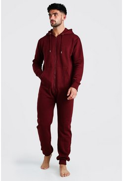 Burgundy Long Sleeve Hooded Onesie