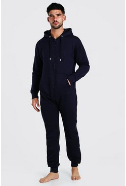 Navy Long Sleeve Hooded Onesie