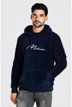 Navy Borg MAN Signature Over The Head Hoodie