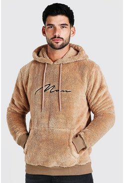Taupe Borg MAN Signature Over The Head Hoodie