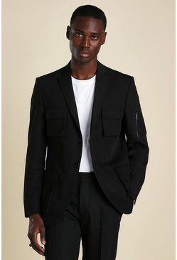 Skinny Single Breasted Utility Blazer, Black