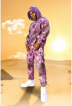 Purple Burna Boy Oversized Toggle Detail Tracksuit