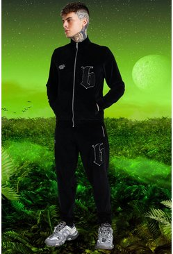 Black Burna Boy Funnel Neck Velour B tracksuit