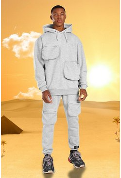 Grey marl Burna Boy 3D Pocket Tracksuit With Back Print