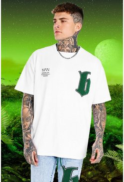 White Burna Boy Oversized Applique B T-Shirt
