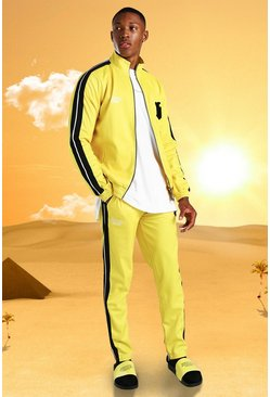 Yellow Burna Boy Slim Fit Tricot Tape Funnel Tracksuit