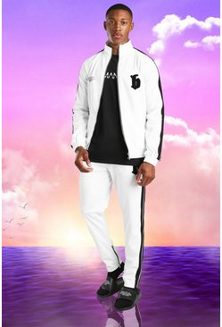 White Burna Boy Slim Fit Tricot Tape Funnel Tracksuit