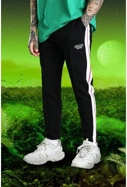 Black Burna Boy Slim Fit Scuba Side Tape Joggers