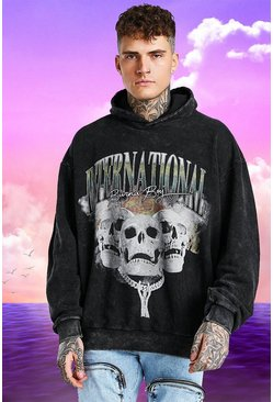 Charcoal Burna Boy Oversized Skull Print Acid Wash Hoodie